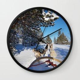 Dog Sledding Wall Clock