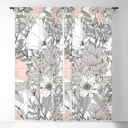 Seamless pattern design with hand drawn flowers and floral elements Blackout Curtain