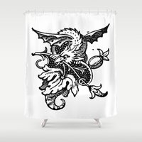 pee wee Shower Curtains featuring Wee Wyvern by Bramble & Posy