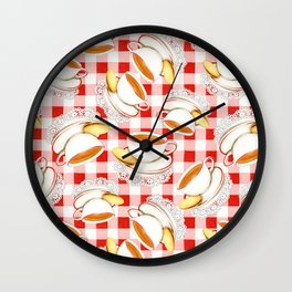 Cup of Tea, a Biscuit and Red Gingham Wall Clock