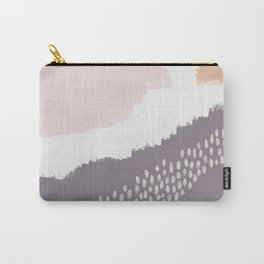 NORA :: Modern Abstract Painting Brush Strokes Color Palette Light Pink Mustard Gold Blue Lavender Carry-All Pouch