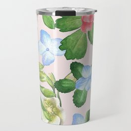 Watercolor Floral Collage in Blush Travel Mug