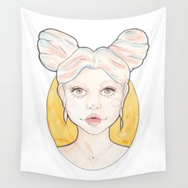 Clio, a Girl with Pink and Blue Streaked Blonde Hair Wall Tapestry