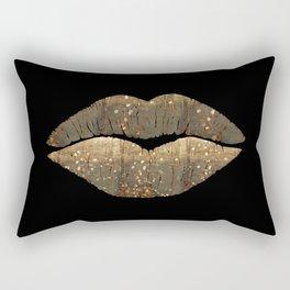 Golden Motes Kissing Lips Rectangular Pillow