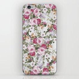 Vintage rustic white wood blush pink floral iPhone Skin
