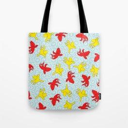 Comical funny Quarrel cat Asian illustration Tote Bag
