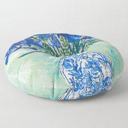 Iris Bouquet in Chinoiserie Vase on Blue and White Striped Tablecloth on Painterly Mint Green Floor Pillow