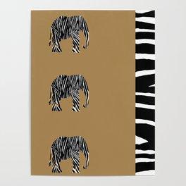 Zebra Elephant Safari Poster