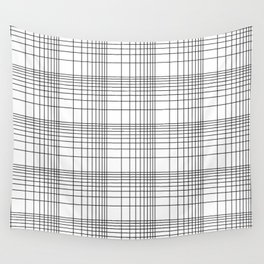 Simple Grid Pattern-Black on White - Mix & Match with Simplicity of life Wall Tapestry