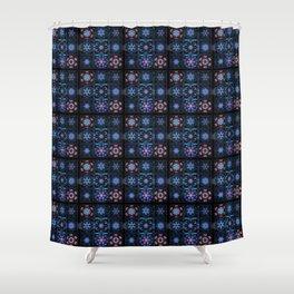 Blue Fractal Collage Pattern Shower Curtain