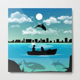 Whaleing Metal Print