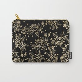 Elegant black faux gold polka dots vintage floral Carry-All Pouch