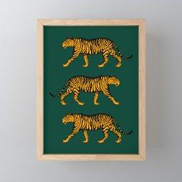 Tigers (Dark Green and Marigold) Framed Mini Art Print