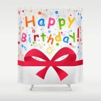 birthday Shower Curtains featuring Birthday by aleksander1