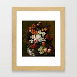 "Philip van Kouwenbergh ""Still life of flowers with roses, peonies, hollyhock, tulips, grapes..."" Framed Art Print"