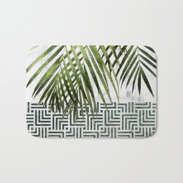 Palm Leaves on White Marble and Tiles Bath Mat