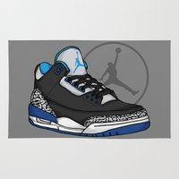 sport Area & Throw Rugs featuring Jordan 3 (Sport Blue) by Pancho the Macho