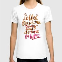 wine T-shirts featuring Coffee & Wine – Brown & Magenta Ombré by Cat Coquillette