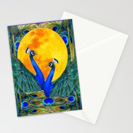 FULL GOLDEN MOON & 2  BLUE PEACOCKS PATTERN ART Stationery Cards