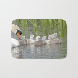 Swan and cygnets Bath Mat