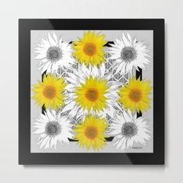 Decorative B&W Yellow-White Sunflowers Metal Print