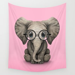 Cute Baby Elephant Calf with Reading Glasses on Pink Wall Tapestry