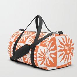 Mid Century Modern Sun Pattern Orange Duffle Bag