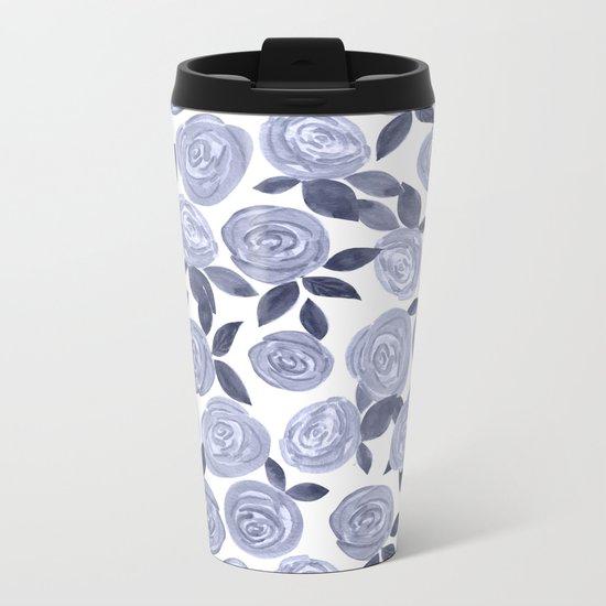 Blue watercolor roses. r2 Metal Travel Mug
