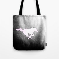 mustang Tote Bags featuring Mustang  by Kristen Sea Illustrations/ ¥éttèr Pho