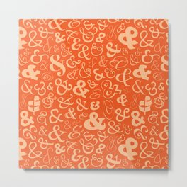 Ampersands - Orange Metal Print
