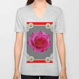 Red Art Shasta Daisy Fuchsia Rose Design Unisex V-Neck