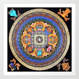 Om Mantra Tibetan Mandala Sapphire Art Print