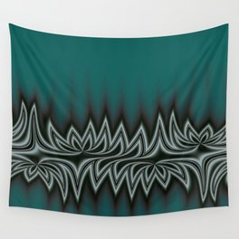 Fractal Tribal Art in Pacific Teal Wall Tapestry