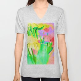 Flowers Sparkle  Unisex V-Neck