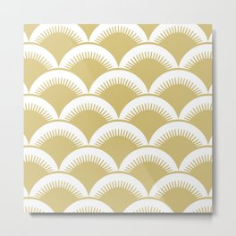 Japanese Fan Pattern Gold Metal Print