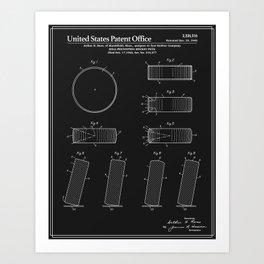 Hockey Puck Patent - Black Art Print