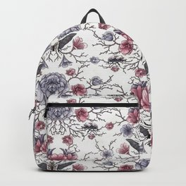 Pattern with delicate pink clivia flowers and beetles Backpack