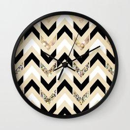 Black, White & Gold Glitter Herringbone Chevron on Nude Cream Wall Clock