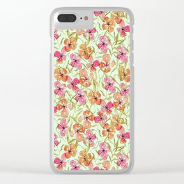 Loose watercolor flower pattern Clear iPhone Case