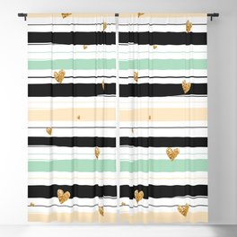 Handmade colorful stripes with gold hearts pattern Blackout Curtain