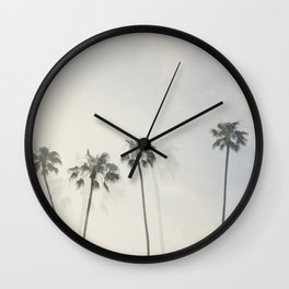 Double Exposure Palms 1 Wall Clock