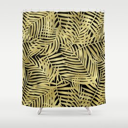 Tropical Gold Leaves Shower Curtain