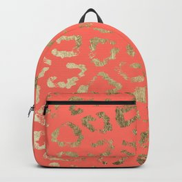 Modern coral faux gold cheetah animal print Backpack