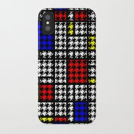Houndstooth Modern Art Grid Pattern iPhone Case