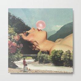 Bubble gum girl Metal Print