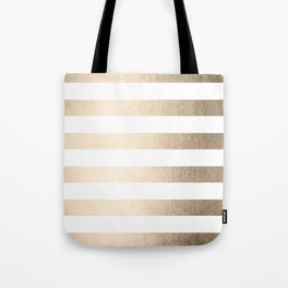 Simply Stripes in White Gold Sands Tote Bag