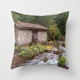 Stone Building by River near Chame Throw Pillow
