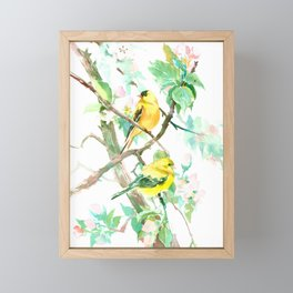 American Goldfinch and Apple Blossom Framed Mini Art Print