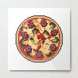 Pizza pixel art on white background. Metal Print