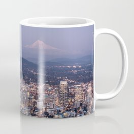 Portland Evening Urban Cityscape With Mt Hood Coffee Mug
